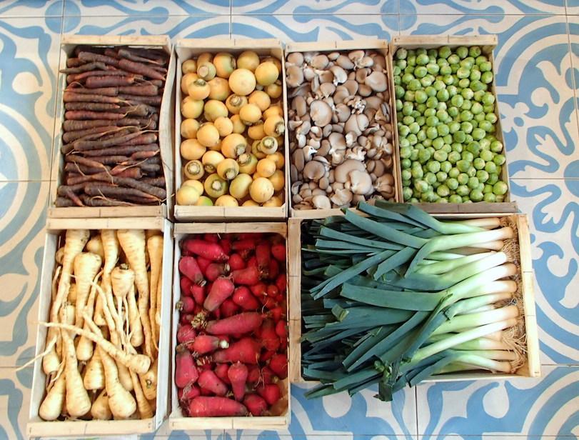 Divers légumes en cageots