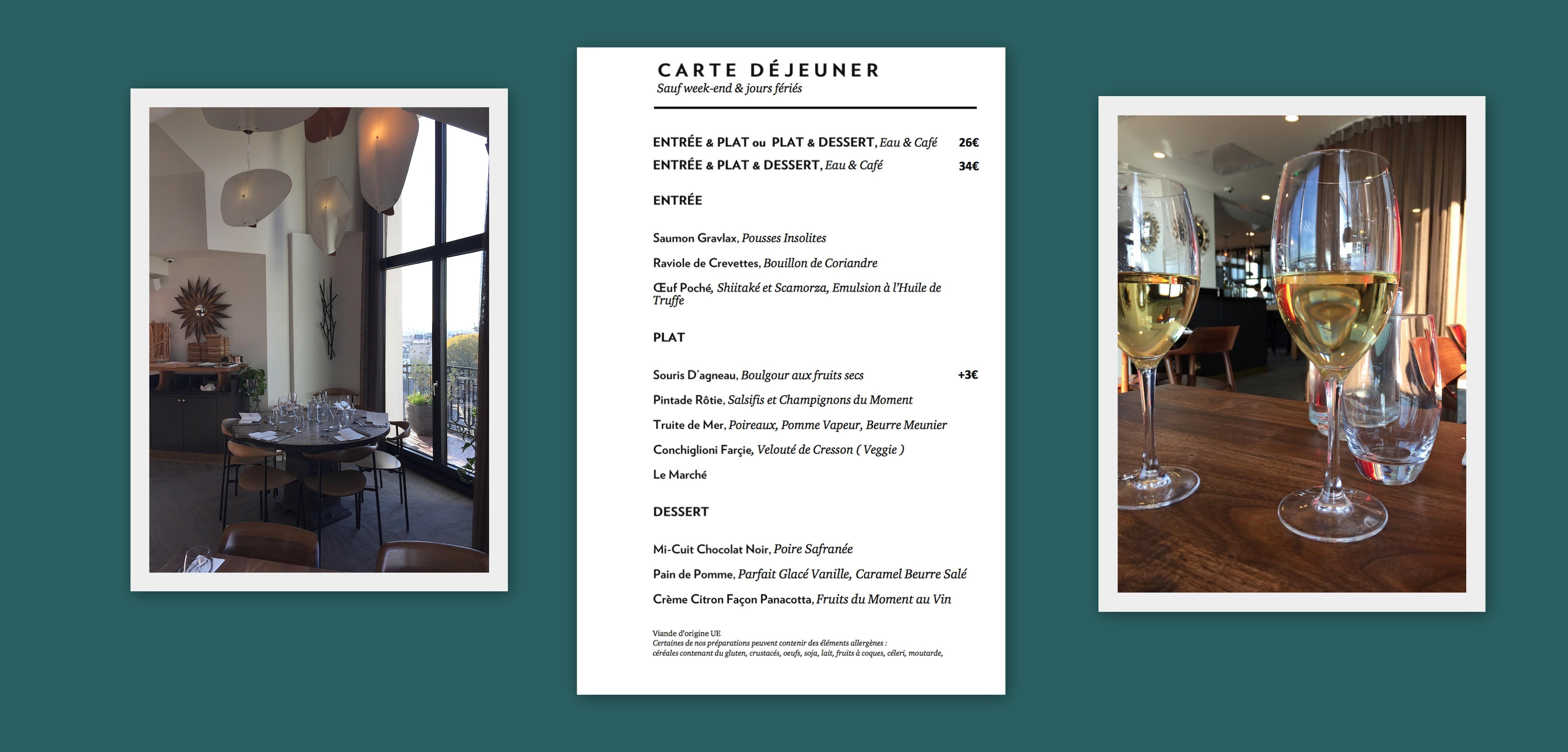 Le menu du Terrass Hotel